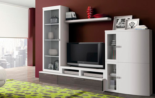 Mueble alto de sal n blanco y ceniza for Muebles salon gris ceniza y blanco