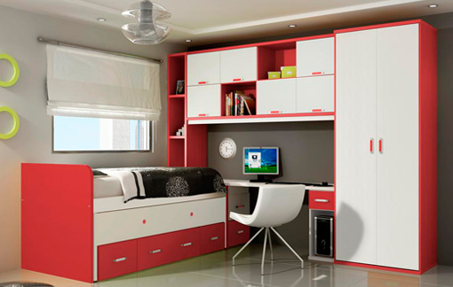 Habitaci n infantil de dise o rojo y blanco - Diseno habitacion infantil ...