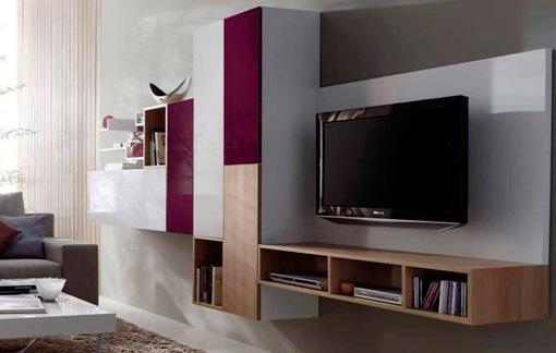 Mueble natural de salón en roble