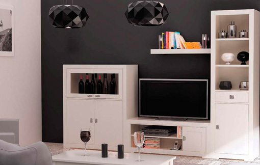 Mueble blanco para sal n elegante for Outlet muebles pontevedra