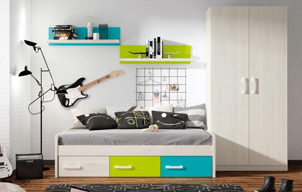 Dormitorio juvenil de cama nido acabado en grafic blanco azul y kiwi - Dormitorios juveniles almeria ...