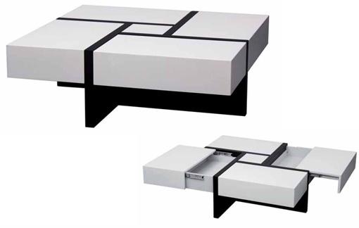 Mesa de centro para sal n con cajones for Mesas para salon